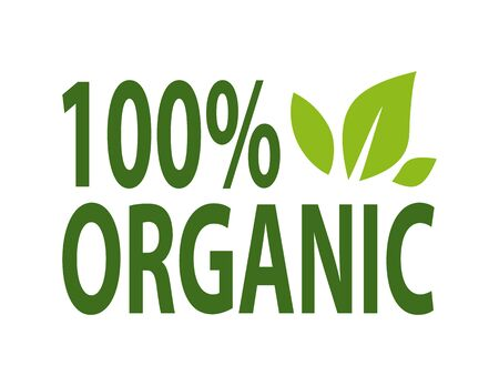 100 percent organic plant lettering and green leaves isolated logo design. Vector natural food, ecology clean products and dieting nutrition simple logotype