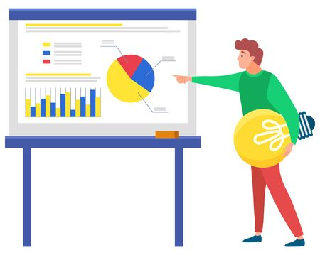 Man standing near statistics chart and looking ahead, lamp in hand. Business tools for innovations and cooperation. New idea. Vector illustration in flat style. Business meeting explanation of ideas