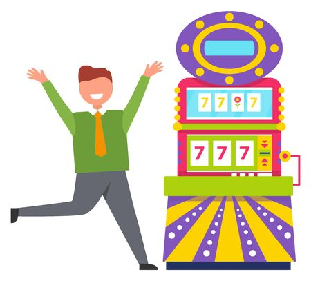 Character happy to win money in casino vector, gambler running with smile on face. Machine showing 777 on screen, lucky sevens bingo, gambling hobby