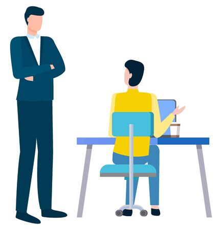 How to write business plan, person sitting at table and boss supervisor standing above him. Vector cartoon person and businessman, problems discussion