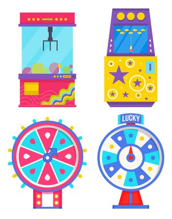 Fortune wheel with spinning circle and money vector, reward on round board flat style. Casino and gambling, claw grabbing toys from glass container for kids. Arcade screen of device old school gadget