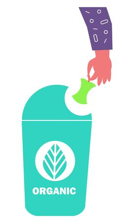 Organic container for fruits, vegetables and natural materials. Right distribution for trash. Smart sorting, processing and recycling. Vector illustration in flat style