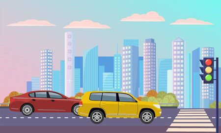 Cityscape with street with zebra vector, transportation cars on roads. Traffic lights and crosswalk with automobile, modern skyscrapers and buildings lorry illustration in flat style design for web