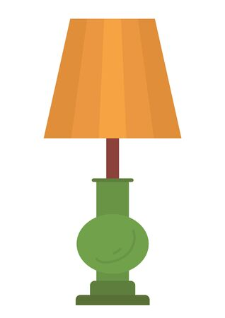 Retro floor lamp with brown lampshade and green stand isolated on white. Vector retro torchiere, standard-lamp interior design, nightstand lighter
