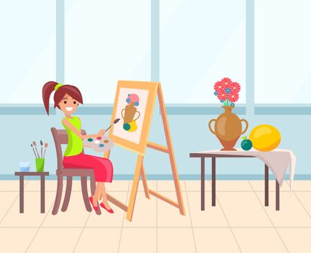Smiling woman drawing still life, flowers in vase. Painter character sitting on chair with palette and paintbrush, canvas on easel, art education vector