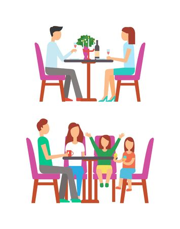 Man and woman eating in rich restaurant vector, table with vase and flowers, champagne bottle and romantic atmosphere. Family child eating ice cream