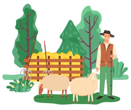Farming male character, shepherd with sheep in farm. Personage holding wooden stick caring for animals. Landscape with trees and greenery, fence and dry grass for livestock. Vector in flat style
