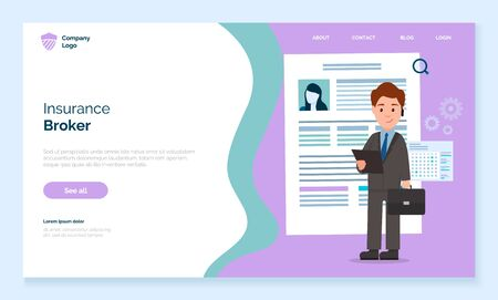 Website of company that provides brokerage services. Man in suit stand with documents. Agent carry out mediation between insurer and insurance market. Vector illustration of web page in flat style