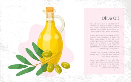 Olive oil, hair natural cosmetics, bottle and branch plant essence, vector banner. Organic skincare product, shampoo or hair mask ingredient. Oily substance for strong and silky hairs illustration Vectores