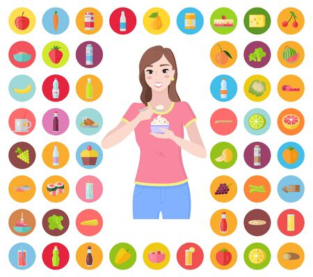 Collection of food icons. Woman eating yogurt and smiling. Healthy cuisine and lifestyle. Vegetables and fruits, junk meal set. Breakfast and dinner, lunch or brunch dishes to consume, vector Illustration