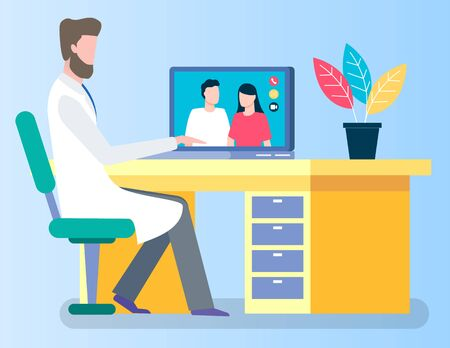 People call doctor for online consultation by videoconference in real time. Practitioner sit in cabinet at hospital and consult about illnesses and prescribe treatment remotely. Vector illustration Vectores