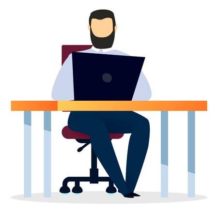 Homme assis sur une chaise près d'une table dans la salle de bureau. L'homme d'affaires utilise un appareil électronique, un ordinateur pour travailler et étudier. Design moderne de l'espace de travail avec ordinateur portable sur le bureau. Illustration vectorielle du lieu de travail à plat