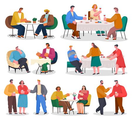 Set of pictures with people in restaurant or home reception. Family meeting with food and drinks. Friends spending time together. Men and women talking and having fun. Vector illustration of party Vektoros illusztráció