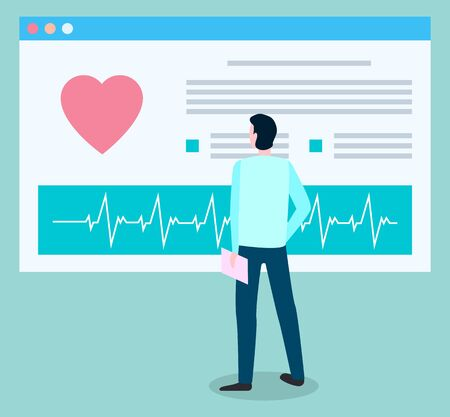 Patient standing near diagnosis on board. Cardiogram with heart beat on screen. Man explore electrocardiogram and prescription in his medical card. Vector illustration of clinic in flat style