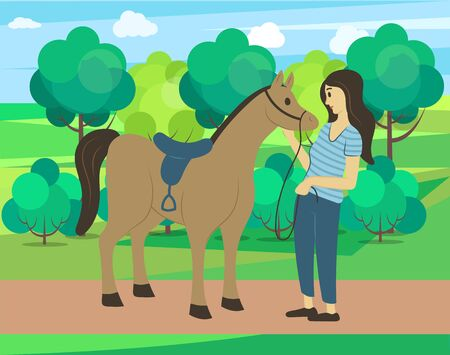 Forest nature vector, woman spending weekends with animals and natural park. Horse and female character touching mammal, mane or stallion flat style