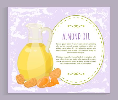 Postcard heap of almond nut and oil in glass bottle symbol isolated. Vector avocado oil recipe, template with natural ingredient for hair or body care. Card with spa vegetarian product and text