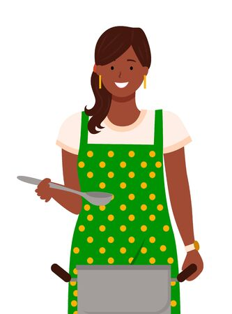Pretty woman stand in kitchen alone. Lady boil soup in pan and taste it by spoon. Housewife hold piece of cutlery. Person dressed in domestic apron. Vector illustration of cooking process in flat