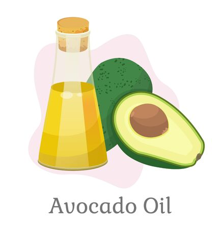 Avocado oil in glass bottle and fruit, isolated natural organic ingredients for hair treatment and growth. Cosmetics essence for massage, lotion for beautiful skin and body. Vector in flat style