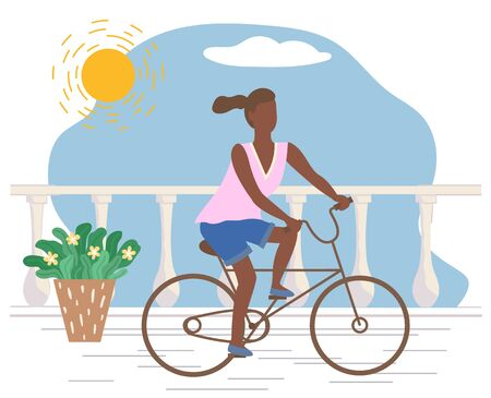 Woman rides bicycle on promenade road. Young lady spend leisure time actively doing hobby. Cyclist driving bike, active sport. Sunny summer weather, seafront. Vector illustration in flat style