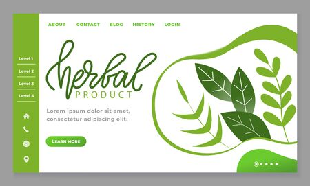 Herbal product and organic food. Designed web page with navigation menu, homepage of healthy lifestyle blog. Green design of site, nature and leaves on mockup of website. Vector illustration in flat
