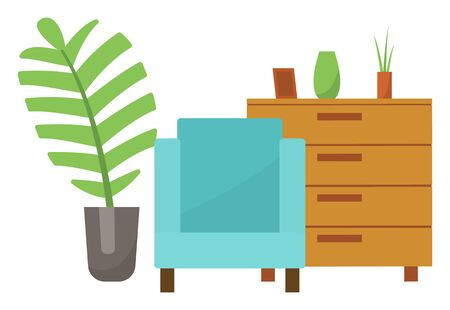Set of home furniture and decor for flat or house. Armchair with blue textile on it and wooden chest with vase and frame. Green plant with palm leaf in grey pot. Vector illustration Ilustrace