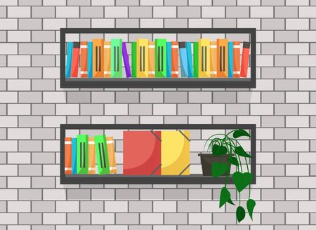 Wooden shelf loaded with books and folders, bookshelf for home of office interior design. Pot with plant on bookcase, wall decor for living or working space. Vector in flat style illustration
