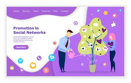 Promotion in social media, people growing and watering tree. Man and woman working as smm managers dealing with likes and followers involvement. Website or webpage template, landing page vector
