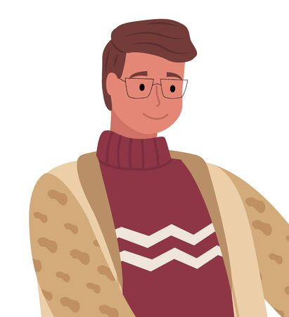 Man in glasses stand alone and smile. Person dressed in warm winter clothes like sweater and cardigan. Happy adult, guy isolated on white background, portrait. Vector illustration in flat style