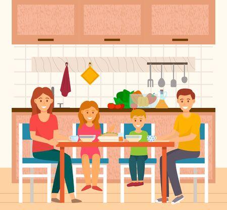 Famille de parents et d'enfants mangeant à la maison en vacances. Maman et papa avec des enfants prenant des repas à la cuisine. Homme et femme avec fils et fille appréciant la nourriture et les boissons à l'intérieur. Vecteur dans un style plat Vecteurs