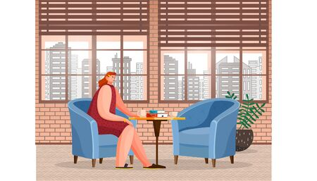 Woman character sitting at table with cup of hot beverage and books or menu. Breaktime of female in coffeehouse with cityscape view from window and houseplant. Female drinking coffee in cafe vector Illustration