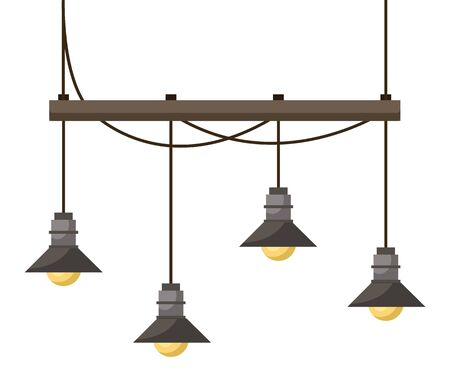 Simple chandelier with wooden balk and four light bulbs. Light fixture mounted on ceiling using rope. Basic furniture needed to illuminate room when it dark. Vector illustration in flat style