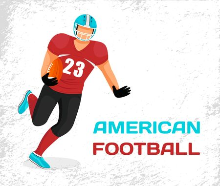 Sportsman in helmet and uniform playing in american football. Player of team running with ball in hands to get points. Picture with caption, name of active game. Vector illustration in flat style