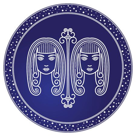 Gemini astrological sign of two twin girls. Astrology and horoscope, zodiac symbol of mythological Castor and Pollux. May and june ruling months. Isolated decorative circular icon, vector in flat