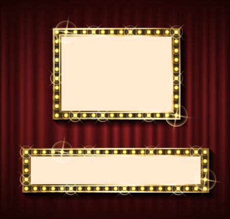 Niht show banner template, theater curtain backdrop and blank frame with lamps vector. Rectangular framework, empty concert poster, framing and textile