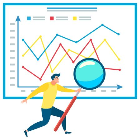 Man analyzing data vector, businessman with magnifying glass and information on board. Success on growing chart, male do business analysis and stats. Worker researching. Data graph on coordinate plane