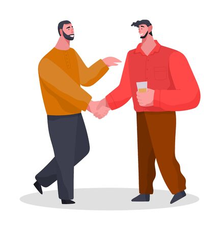 Friends spending time together on home reception. Banquet or meeting with drinks. Two men greet each other and talk about life. People isolated on white background. Vector illustration in flat style