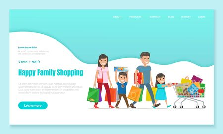 Family shopping, mother and father with bags, son carries box and daughter pushes cart or trolley, landing web page vector. Purchases and gifts, holiday sale. Parents and children in mall illustration