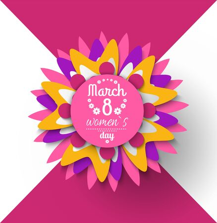 8 March womens day paper cut flower greeting card with Japanese origami. Vector blossom folder in decorative shapes and figures, buds and leaves  イラスト・ベクター素材