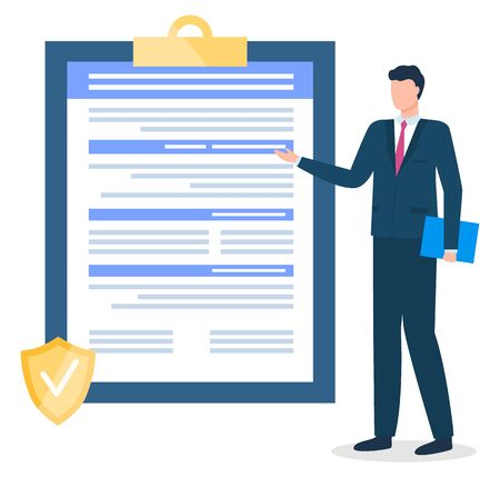 Male character working in insurance company pointing on contract or agreement on clipboard. Businessman presenting paper document for conclusion of deal. Business development vector in flat style