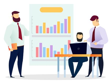 Business planning and strategy making, isolated characters wearing formal clothes comparing data on laptop and whiteboard. Information analysis or programming of software, vector in flat style