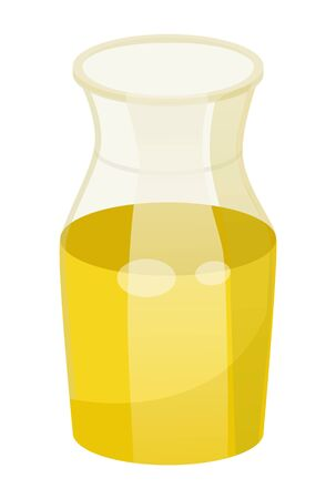 Glass pot contains golden liquid inside. Vessel with viscous substance used in cooking and cosmetics. Vegetable, olive or sunflower, oil good for hairs. Vector illustration of haircare in flat style