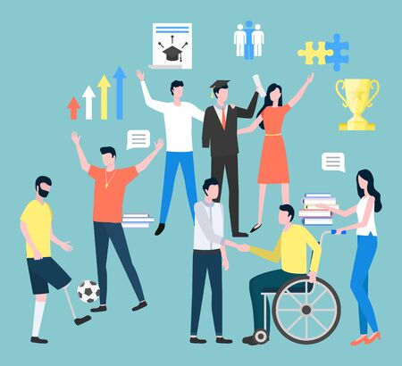 Set of people leading ordinary life and disabled person in community. Man sitting on wheelchair handshaking with boss or colleague. Male playing football, grad student with friends on prom vector