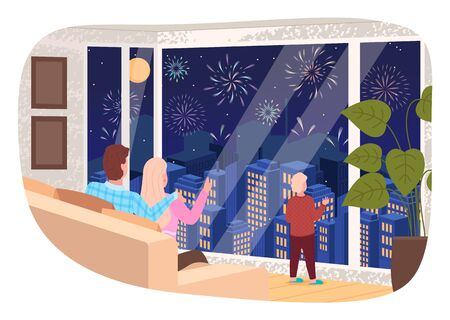 Mom and dad sitting on sofa and kid standing by window looking at fireworks at night. Cityscape view at evening. People celebrating holidays. Characters spending time at home, vector in flat