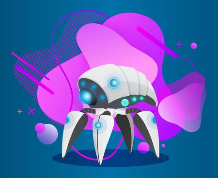Robotic mechanism for work. Robot with lights and sensors, panel and bulbs and abstract blot on background. Artificial intelligence of futuristic cyborgs and models of bots. Vector in isometric style