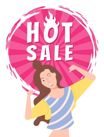 Cheerful woman hot sale vector, isolated woman with happy face expression. Proposition from store, shop discount and clearance flat style character
