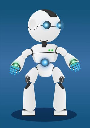 Smart robot, mechanical artificial agent. Innovation like autonomous machine capable to make decisions by itself. Cyber interface of android. Vector illustration of modern technologies in flat style