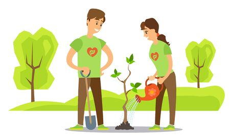 Volunteers planting trees isolated. Vector man with shovel digging ground and woman with watering can waters plant at spring time, cartoon characters Illusztráció