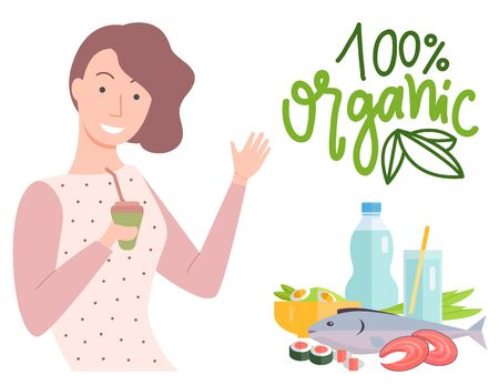 100 one hundred percent organic food. Smiling girl with juice and straw. Natural products fish and sushi. Glass of water and bottle with liquid vector Archivio Fotografico - 142367964