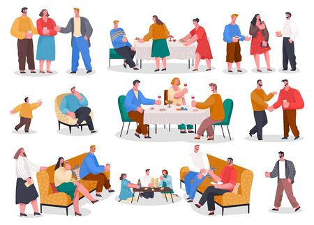 Men and women have dinner, party in restaurant or at home. Friends and family meeting with food and games. Set of isolated pictures with people having fun. Vector illustration of banquet in flat style Vettoriali