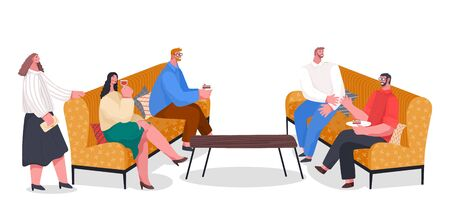 People have dinner, party with food and drinks, home reception. Friends spending leisure time together with fun. Men and women have conversation. Vector illustration of banquet in flat style